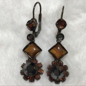 SORRELLI brown flower dangle stone earring rock